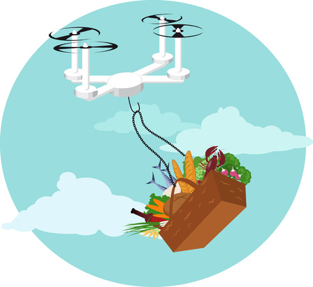 Delivery drone transporting a basket of produce Illustration