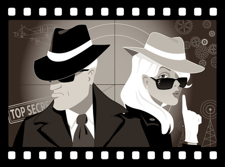 Mysterious couple of secret agents in an old movie frame