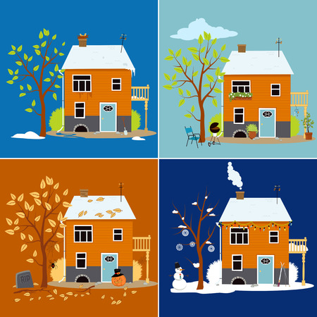 transition: House shown in different seasons Illustration