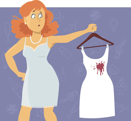 stain: Upset woman looking at a wine stain on a white cocktail dress