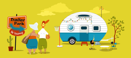 retire: Middle age couple standing near the sign at the trailer park Illustration