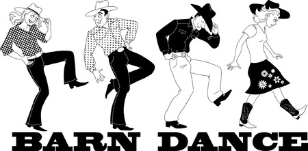 Barn western dance vector line art