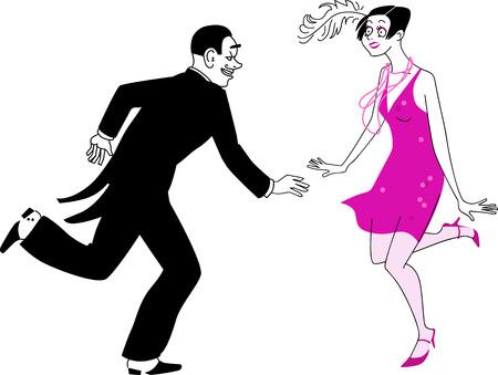 artdeco: Couple dressed in 1920s costumes dancing the Charleston