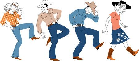La gente en ropa occidental tradicional que bailaba estilo country Ilustración de vector