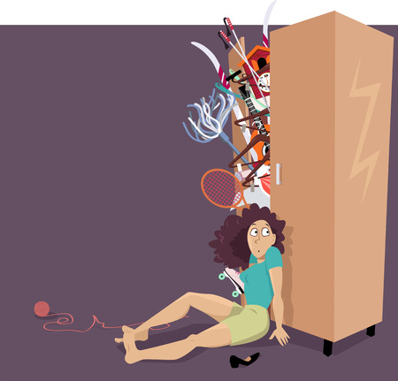 Overfilled closet bursting with different things Illustration