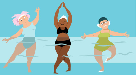 senior exercise: Three mature ladies doing water aerobics exercises in the pool, EPS 8 vector illustration, no transparencies