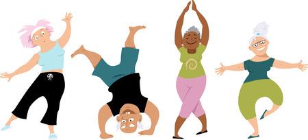 Hogere mensen die yoga