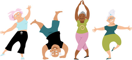 women working out: Senior people doing yoga