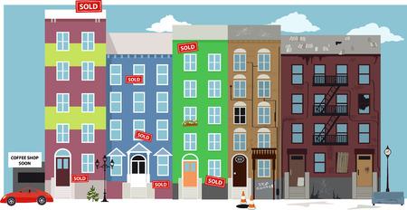 Städtische Blick auf die Straße mit renovierte Wohnung Entwicklungen ersetzen alte verschlechterten Nachbarschaft in einem Prozess der Gentrifizierung Standard-Bild - 63546319