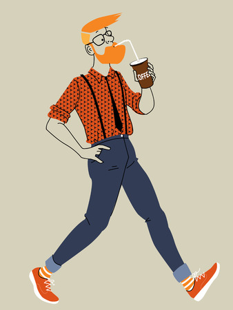 beard man: Young trendy man walking and drinking coffee