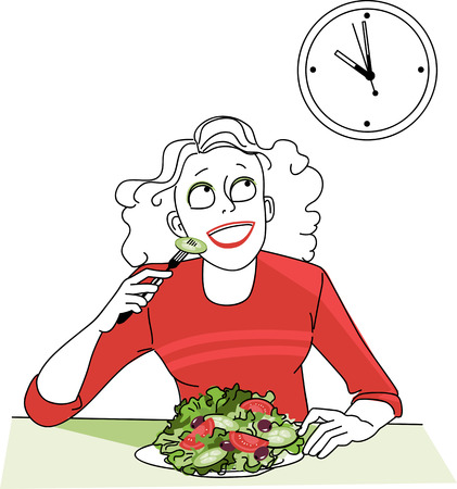 regiment: Woman, practicing intermittent fasting, looking at the clock Illustration