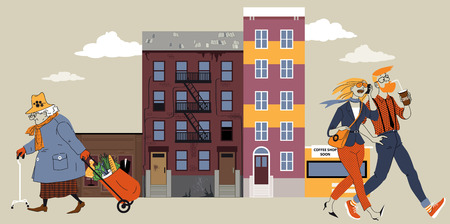 urban planning: Old lady walking down the street of a city block that is undergoing gentrification Illustration