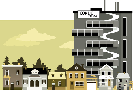 gentrification: New condo building with For Sale sign towering over an old low density neighborhood Illustration
