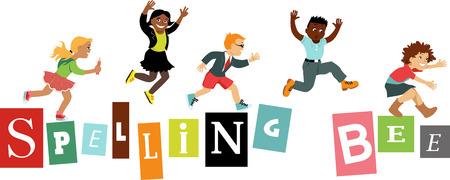 schoolchildren: Spelling bee title design with schoolchildren jumping on letters