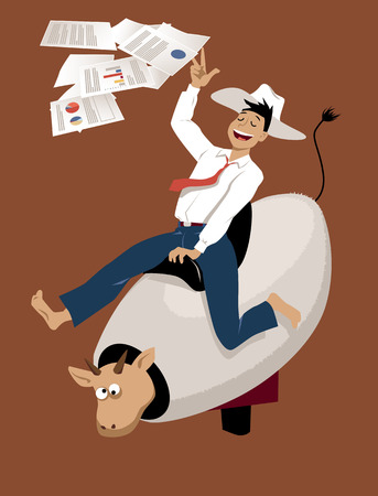 Young businessman in a cowboy hat riding a mechanical bull