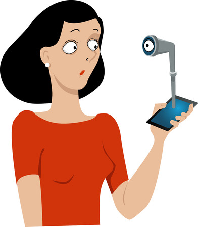 An eye looking at a woman through a periscope coming out of her smart-phone Illustration