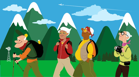 woman middle age: Group of middle aged and elderly people hiking, mountain landscape on the background, vector illustration, no transparencies Illustration