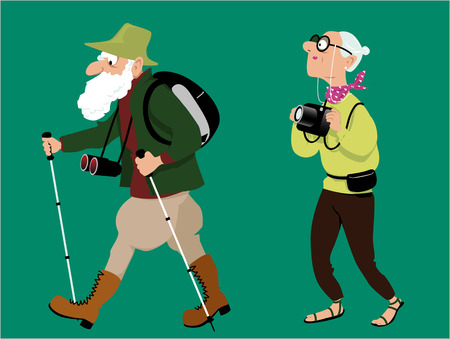 anciano: Pares mayores que el senderismo y la toma de fotografías, ilustración vectorial, no transparencias
