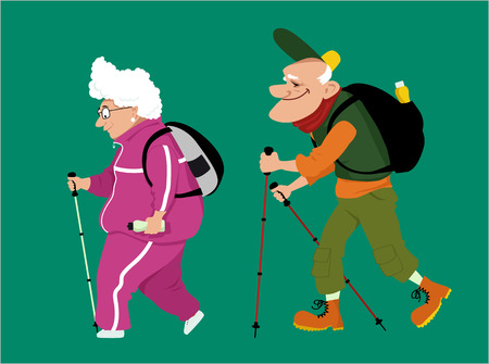 couple hiking: Cute cartoon senior couple hiking, vector illustration, no transparencies Illustration