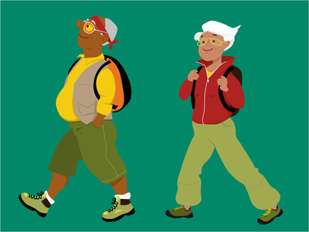 woman middle age: Energetic mature couple hiking with backpacks, vector illustration Illustration