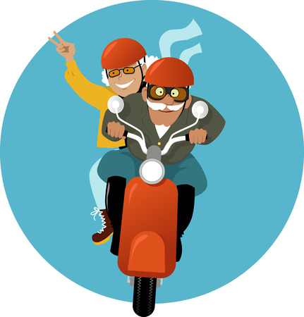 Adventurous mature couple riding a scooter, vector illustration, no transparencies