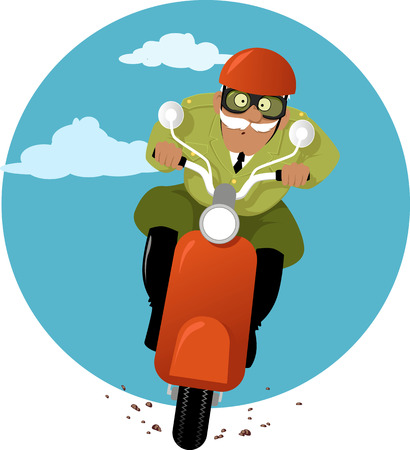 Mature military officer or officer of the law in a uniform riding a scooter, vector illustration