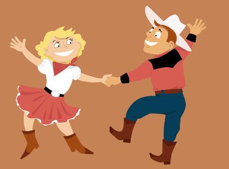 Cartoon couple dancing western swing, vector illustration