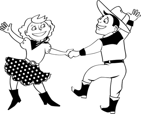 Vector clip art of a cute cartoon couple dancing western swing, no white objects