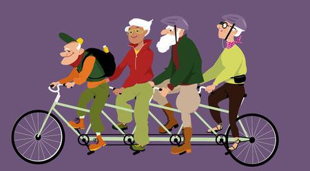 ricreazione: Gruppo di anziani attivi che guidano un tandem bicicletta, illustrazione vettoriale, non lucidi