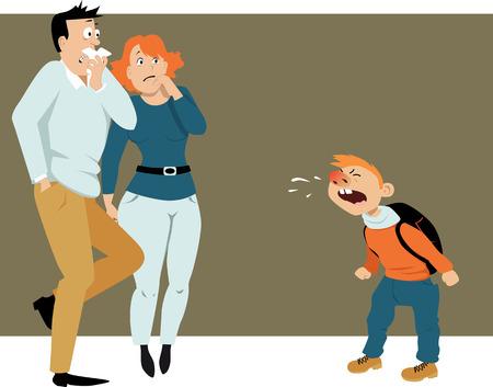 los padres aterrorizados mirando al chico estornudos, viniendo de una escuela enferma con una ilustración de frío, vector