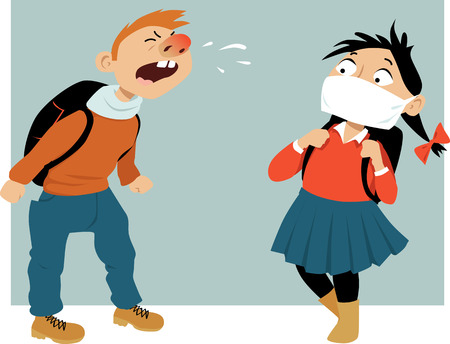 Schoolboy sneezing at his classmate, who is wearing a medical face mask, vector illustration, no transparencies Vectores