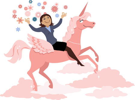 Daydreaming woman in a yoga pose riding a unicorn,  vector illustration, no transparencies