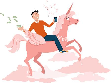 Jeune homme d'affaires avec un téléphone intelligent chevauchant un argent licorne et jeter comme une métaphore pour une licorne start-up, EPS, 8, vecteur, Illustration Banque d'images - 64362610