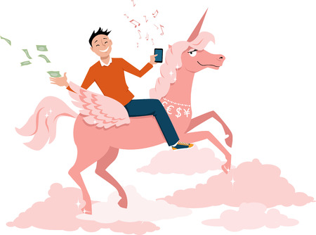 Young businessman with a smart-phone riding a unicorn and throwing money as a metaphor for a unicorn start-up, EPS 8 vector illustration