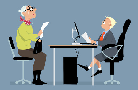 Elderly woman having a job interview with a hiring manager, looking like a little boy, vector illustration, no transparencies