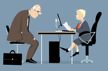 Elderly person having a job interview with a hiring manager, looking like a little boy, vector illustration Stock Illustratie