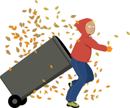 Teenage boy rolling our a garbage bin, autumn leaves falling around him, vector illustration, no transparencies Illustration