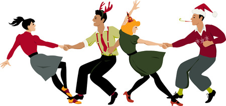 attire: Two couples in holidays attire and party hats dancing lindy hop or swing in formation, vector illustration