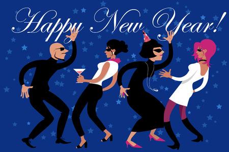 gente che balla: Capodanno partito, la gente alla moda che balla, illustrazione vettoriale Vettoriali