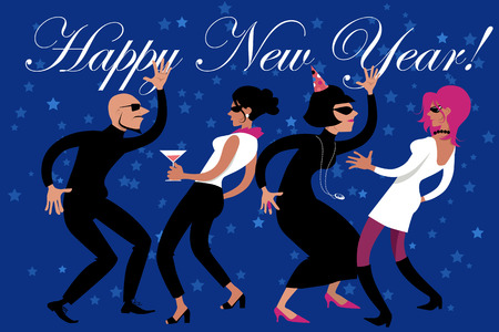 new year eve: New Years Eve party, stylish people dancing,  vector illustration