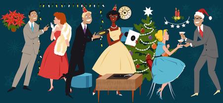 socialising: ilustración vectorial de estilo retro, grupo de personas vestidos con la moda de 1950, la celebración de la Navidad del Año Nuevo, sin transparencias