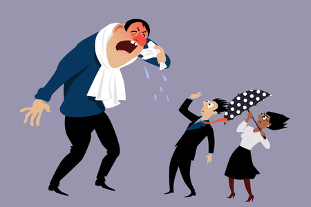 respiratory protection: Sick man sneezing at terrified coworkers,vector illustration, no transparencies Illustration