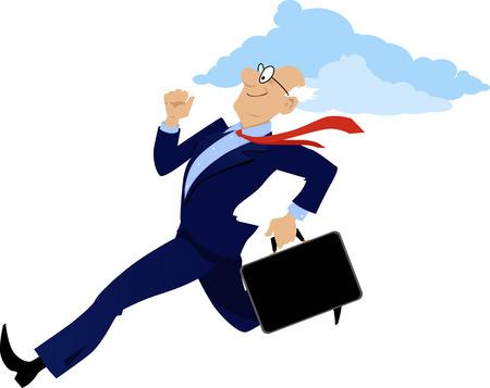 Energieke senior zakenman loopt met een aktetas, vector illustratie, geen transparanten Stock Illustratie