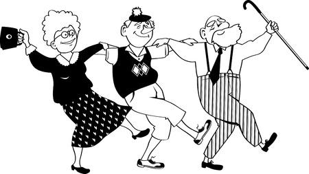 Vector line art of three happy seniors dancing sirtaki or Zorba dance, EPS 8, no transparencies