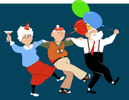Three happy seniors in holidays hats and with balloons dancing sirtaki or Zorba dance, vector illustration, no transparencies