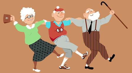 actividad: Tres personas mayores felices bailando sirtaki o danza de Zorba, ilustración vectorial, no transparencias