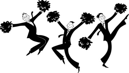 Cartoon businessmen doing cheer-leading routine as a metaphor for team motivation