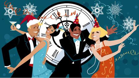 socializando: Grupo de personas vestidos con la moda de 1920 y sombreros de fiesta bailando el charlestón