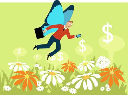 Homme d'affaires avec des ailes de papillon volant au-dessus d'un champ de fleurs, comme une métaphore pour un indépendant travailleur économie concert