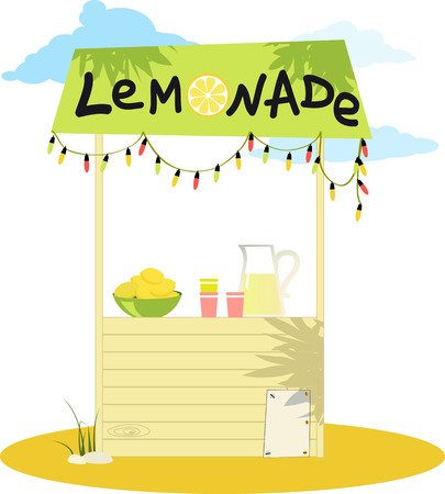 Cartoon lemonade stand with fresh lemons and a pitcher
